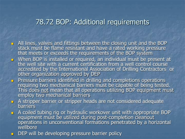 78.72 BOP: Additional requirements