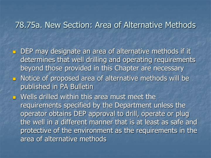 78.75a. New Section: Area of Alternative Methods
