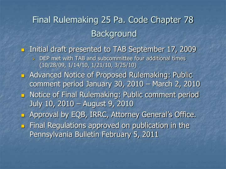 Final Rulemaking 25 Pa. Code Chapter 78