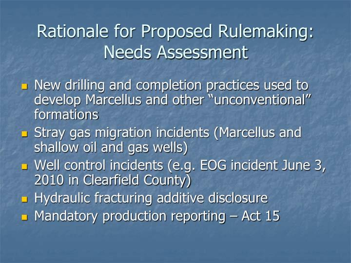 Rationale for Proposed Rulemaking: Needs Assessment