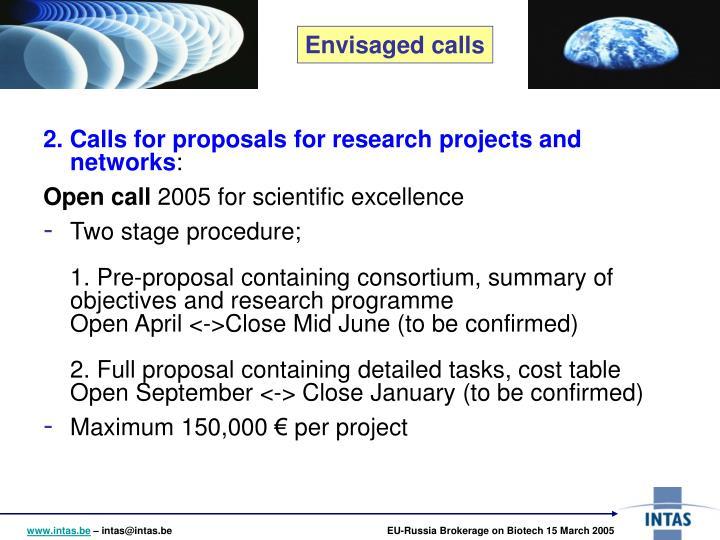 2. Calls for proposals
