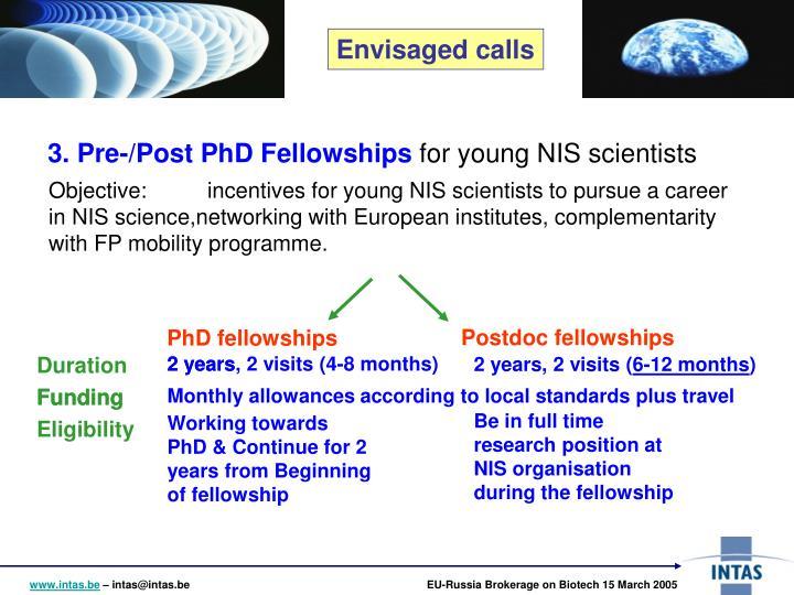 3. Pre-/Post PhD Fellowships