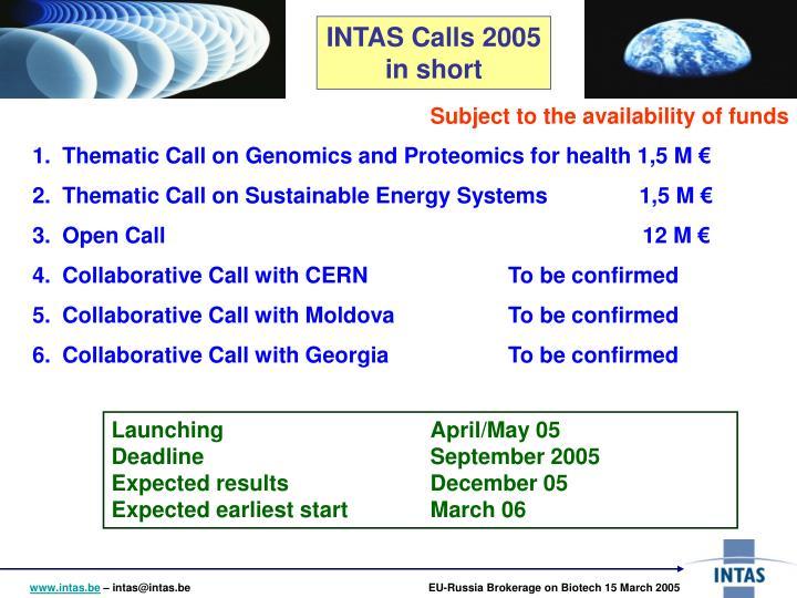 INTAS Calls 2005