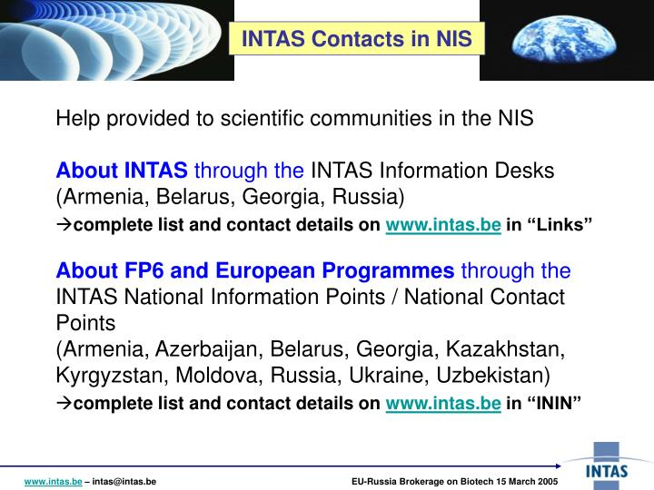 INTAS Contacts in NIS