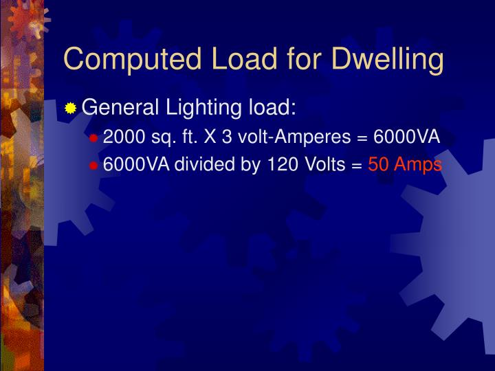 Computed Load for Dwelling