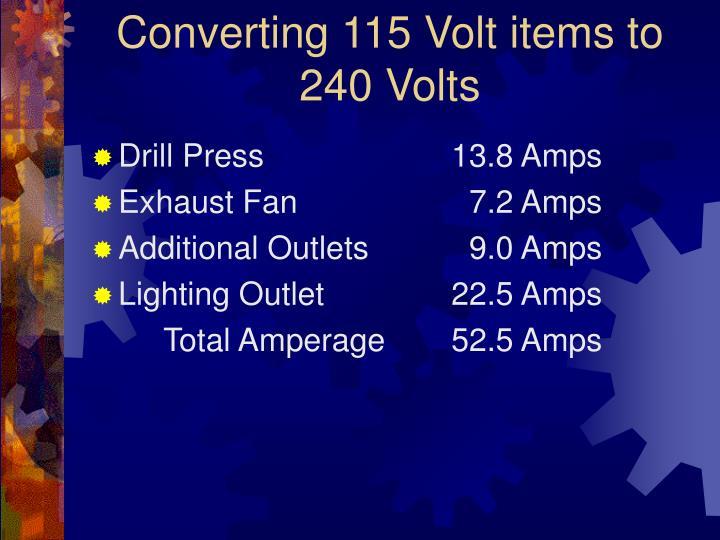 Converting 115 Volt items to 240 Volts