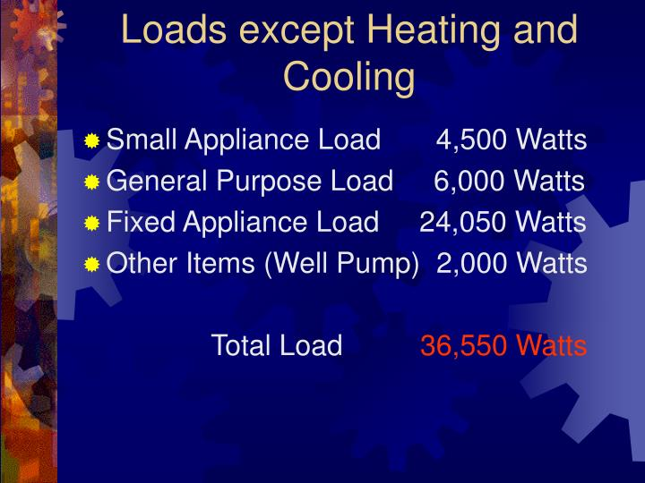 Loads except Heating and Cooling