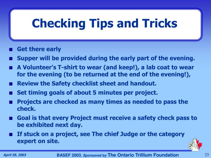 Checking Tips and Tricks