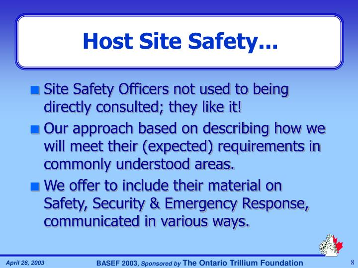 Host Site Safety...