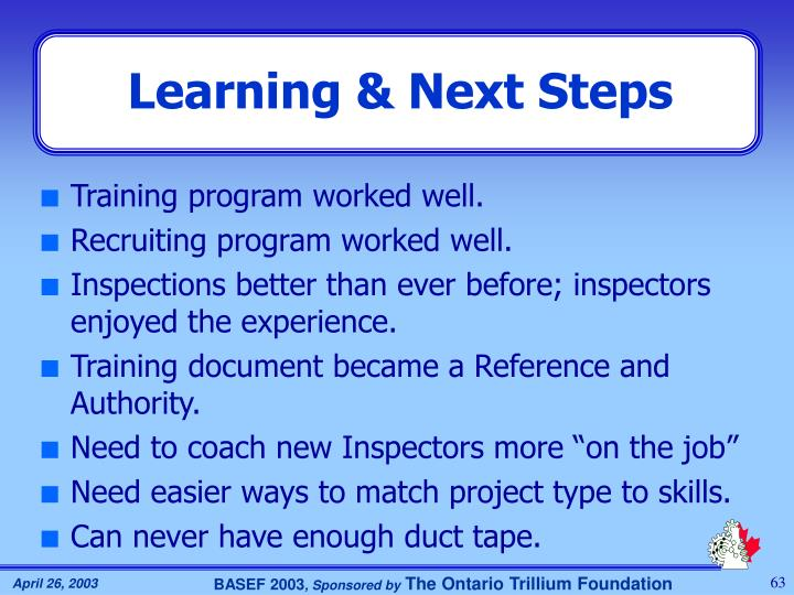 Learning & Next Steps