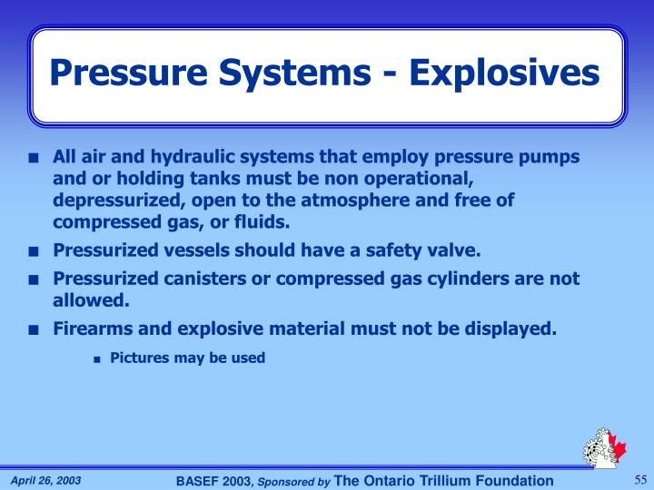 Pressure Systems - Explosives