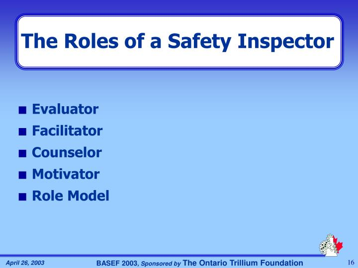 The Roles of a Safety Inspector