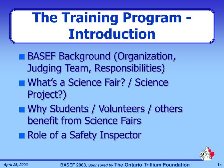 The Training Program - Introduction