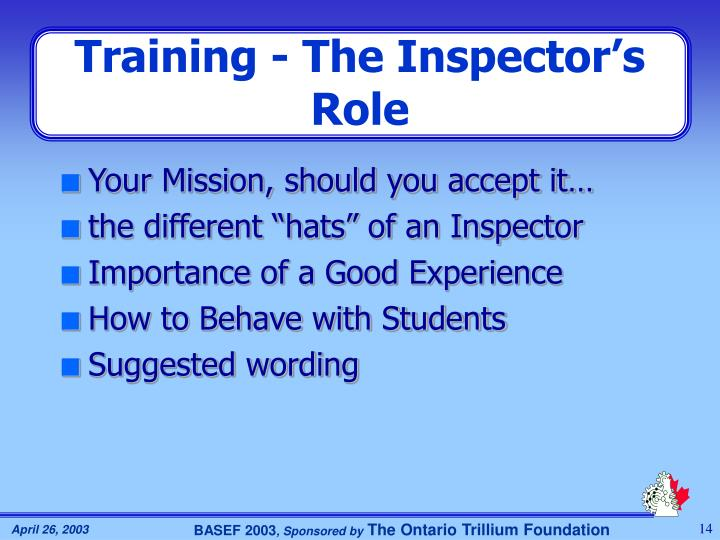 Training - The Inspector's Role