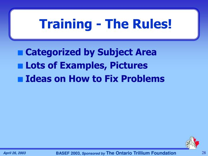 Training - The Rules!