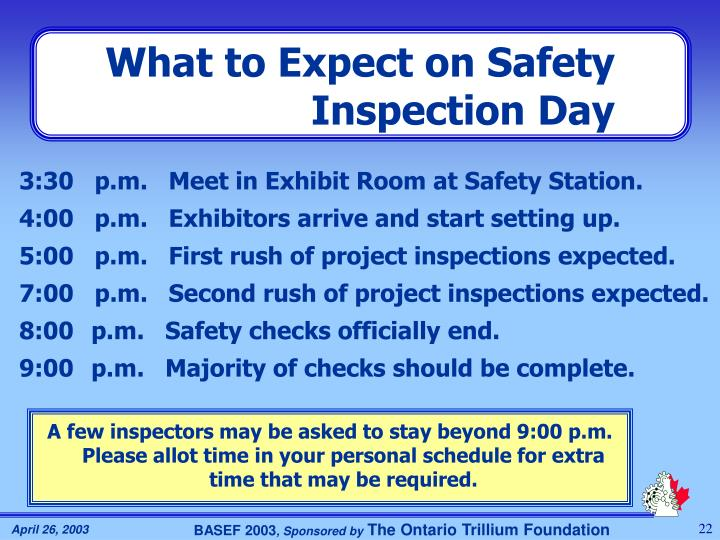 What to Expect on Safety Inspection Day