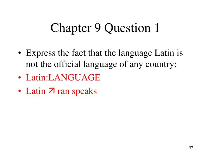 Chapter 9 Question 1
