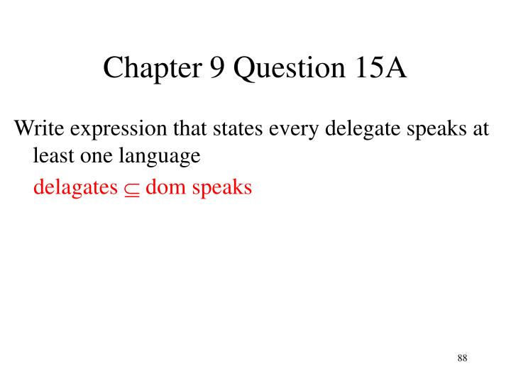 Chapter 9 Question 15A