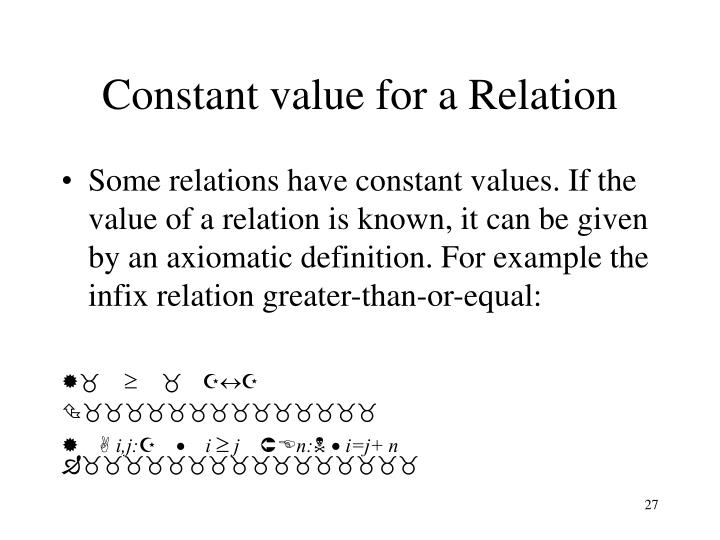 Constant value for a Relation