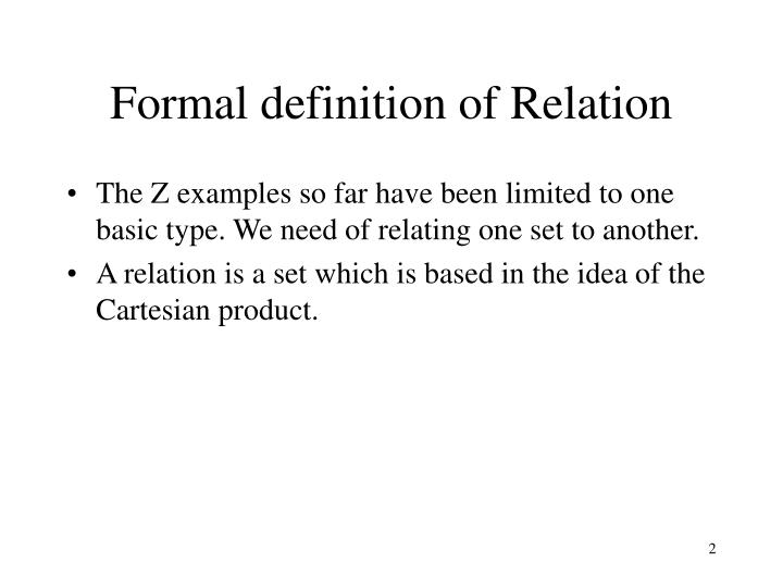 Formal definition of relation