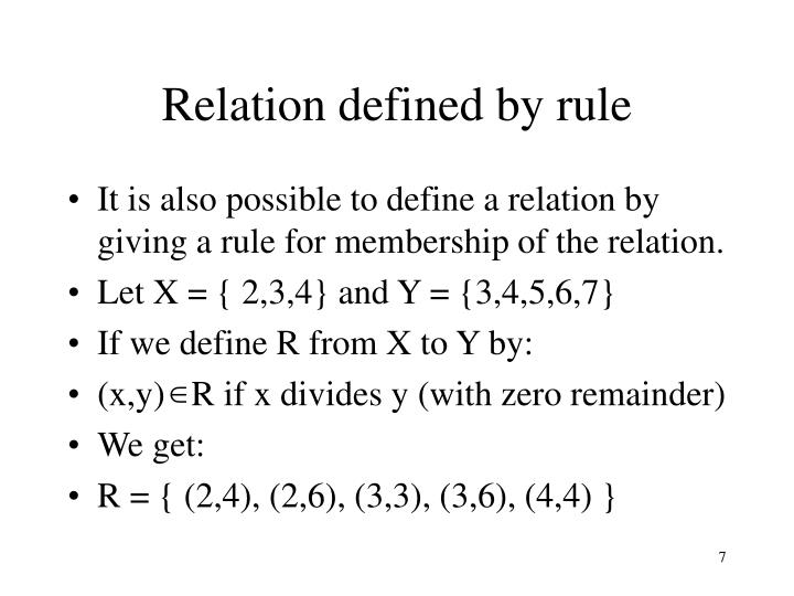 Relation defined by rule