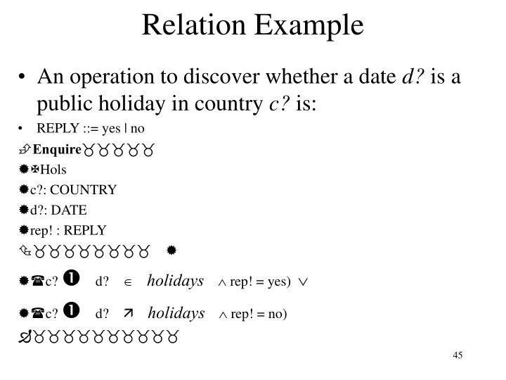 Relation Example