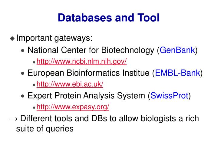 Databases and Tool