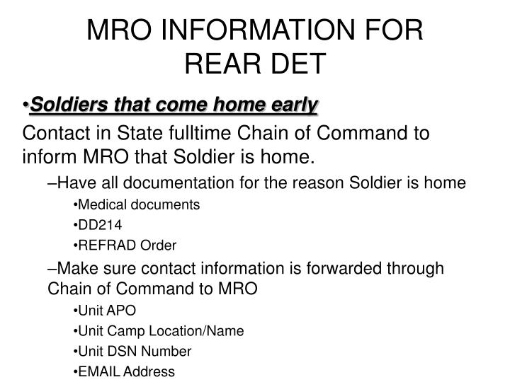 MRO INFORMATION FOR REAR DET