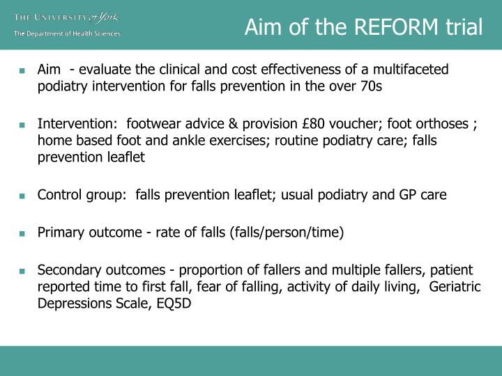 Aim of the REFORM trial