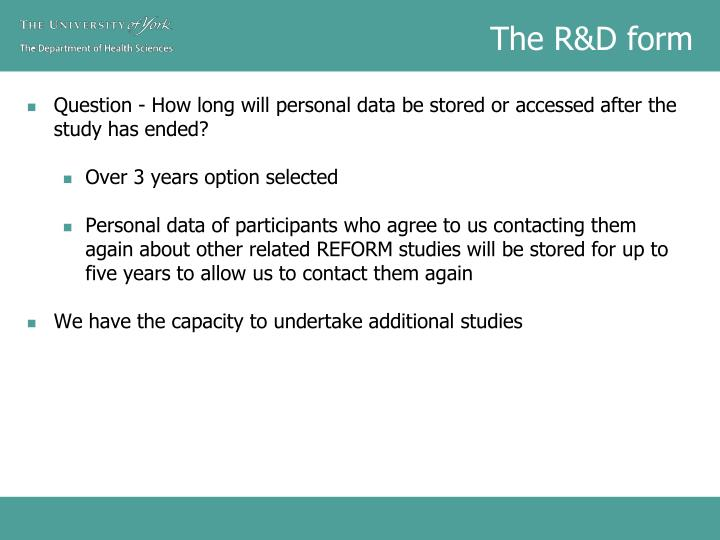 The R&D form