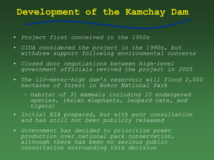 Development of the Kamchay Dam