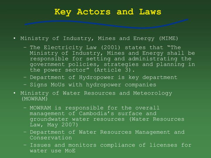 Key Actors and Laws