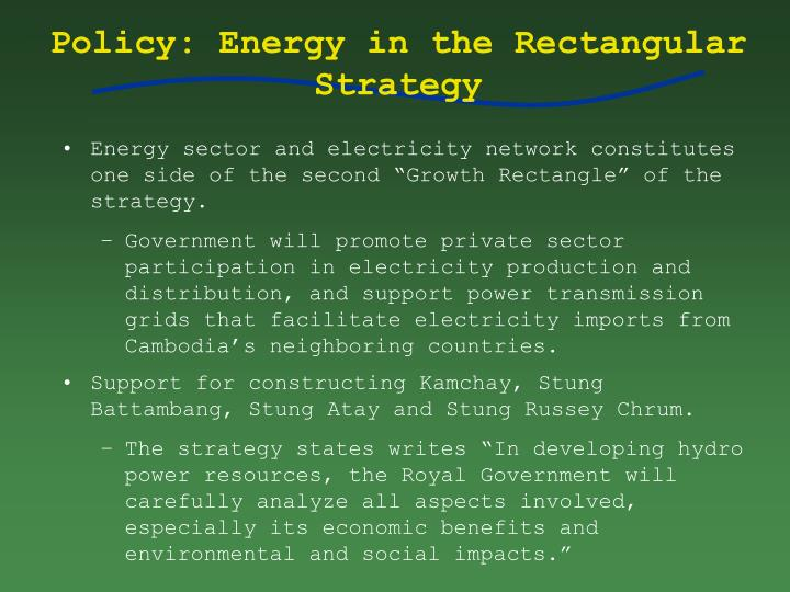 Policy: Energy in the Rectangular Strategy