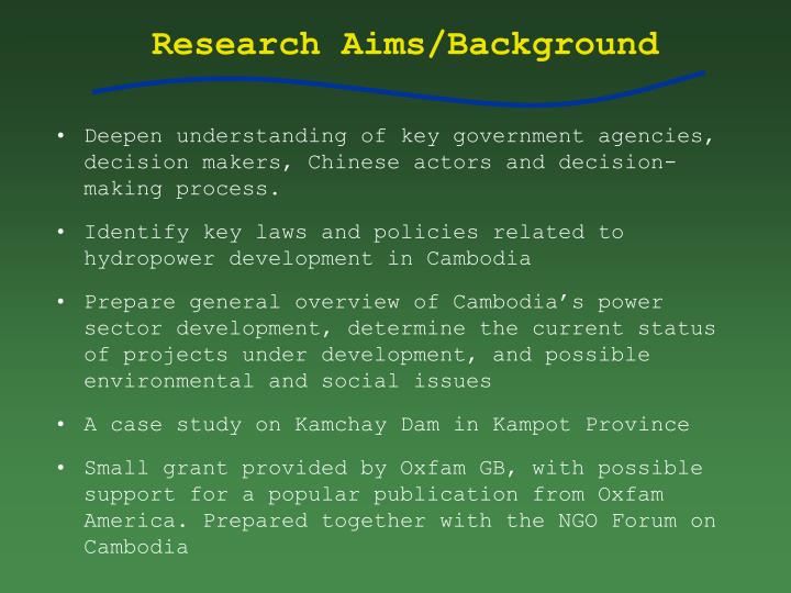 Research aims background