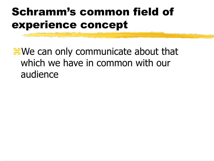 Schramm's common field of experience concept