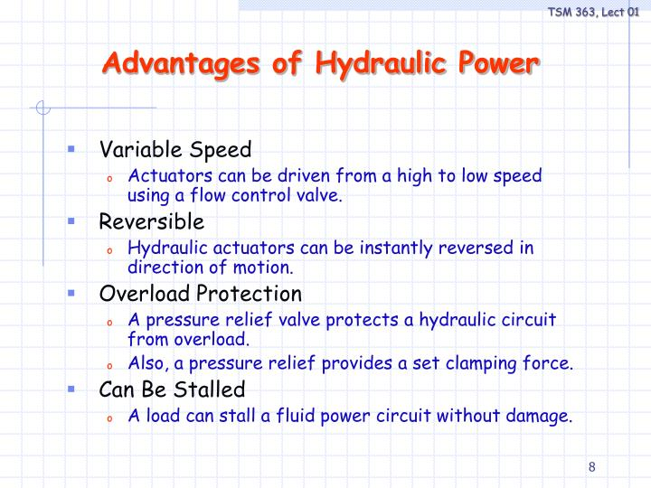 Advantages of Hydraulic Power