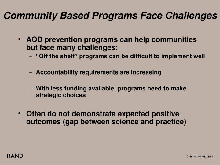 Community Based Programs Face Challenges