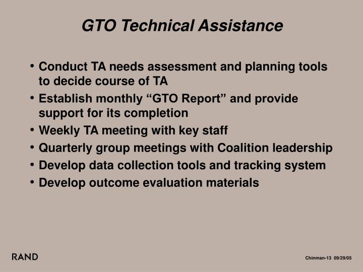 GTO Technical Assistance