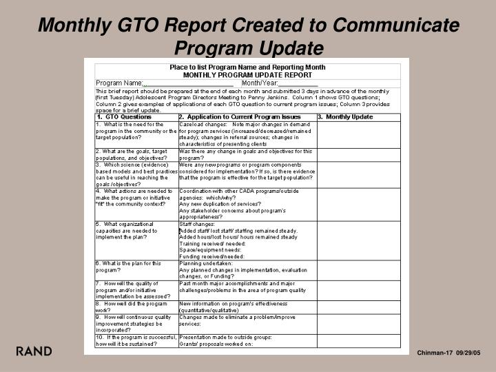 Monthly GTO Report Created to Communicate Program Update