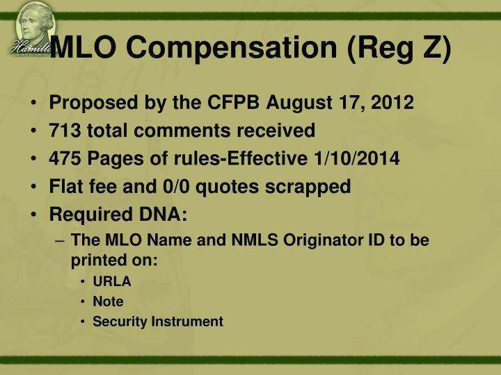 MLO Compensation (Reg Z)