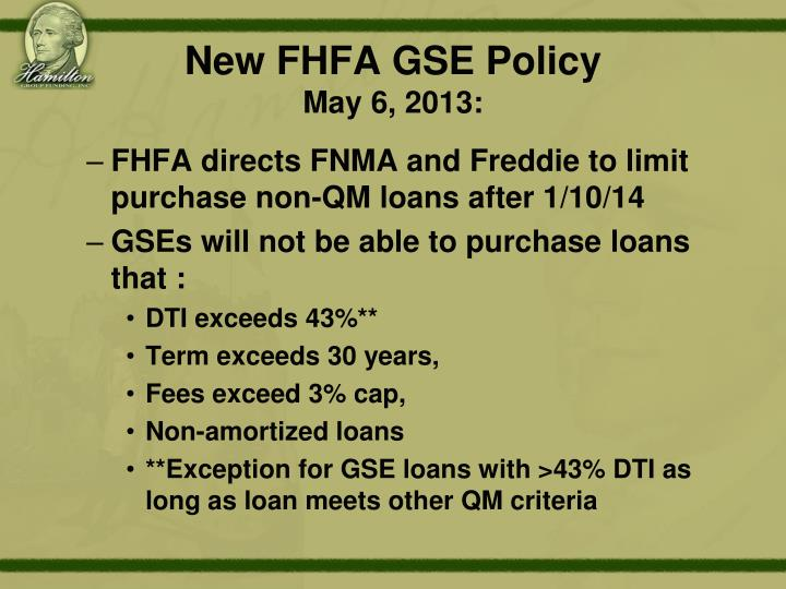 New FHFA GSE Policy