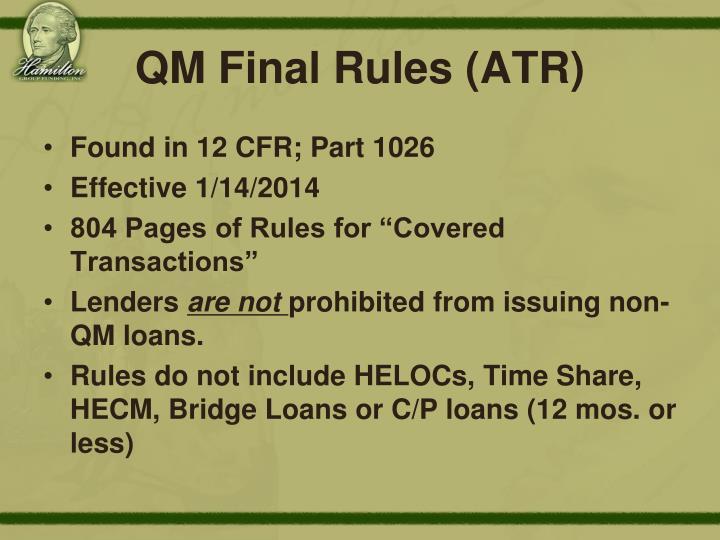 QM Final Rules (ATR)