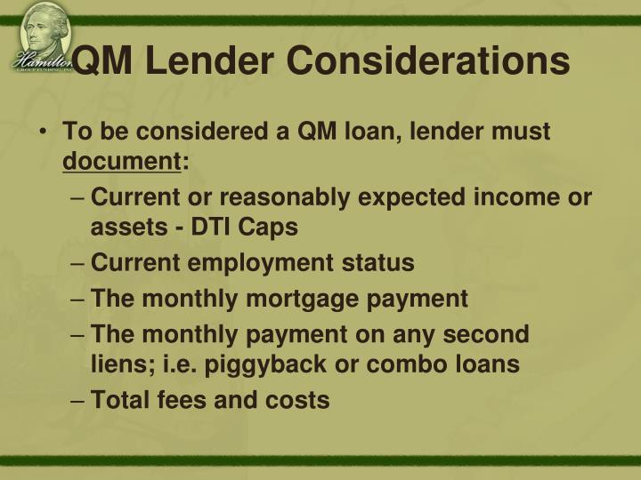 QM Lender Considerations