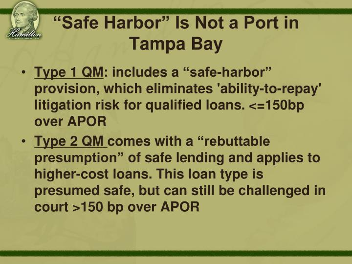 """""""Safe Harbor"""" Is Not a Port in"""