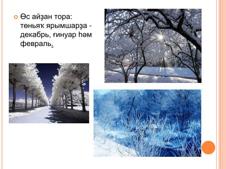 Өс айҙан тора: төньяҡ ярымшарҙа - декабрь, ғинуар һәм февраль