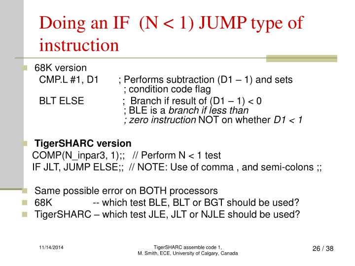 Doing an IF  (N < 1) JUMP type of instruction