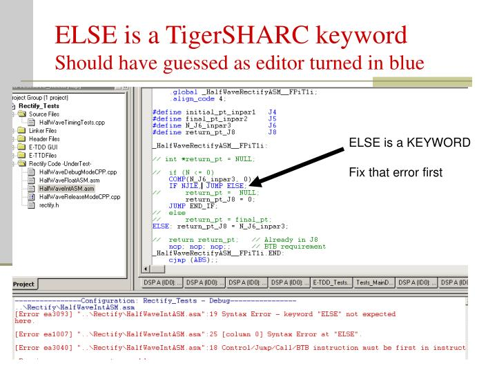 ELSE is a TigerSHARC keyword