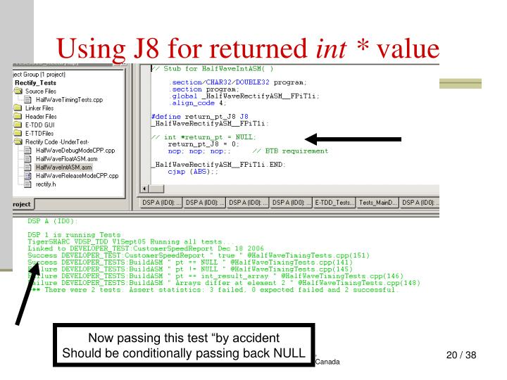 Using J8 for returned