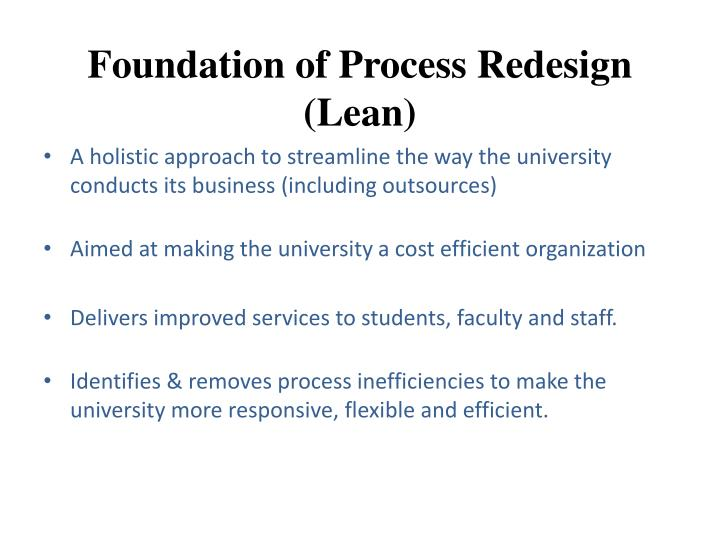 Foundation of process redesign lean