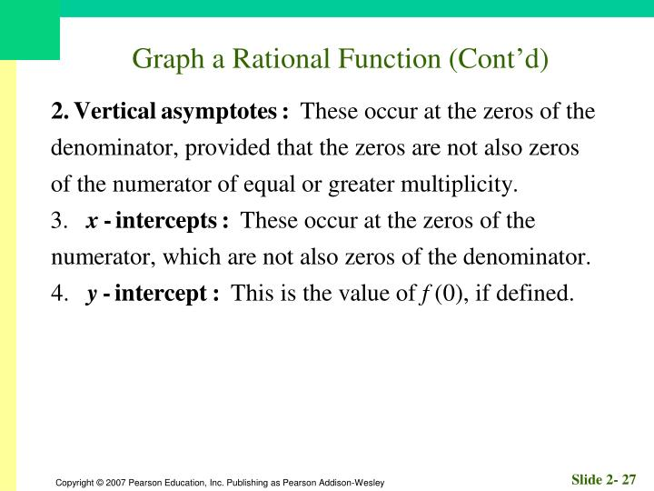 Graph a Rational Function (Cont'd)
